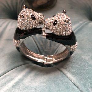 Jewelry - Rhinestone Panda Hinge Bracelet NWOT